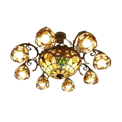 Victorian Design Inverted Colorful Glass M&S Light Chandelier 2 Sizes Available