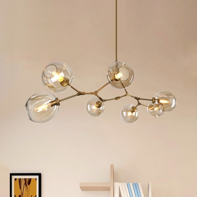 Abstract Multi Arm Chandelier Gold Finish 3/5/6/7/8/9 Heads Clear Glass Ball LED Chandeliers Post Modern Dining Restaurant Bar LED Branch Pendant Lighting