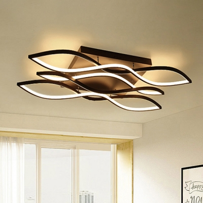 Brown Led Wave Ceiling Light Home Decorative 37w 152w 1 2 3 5 Light Tidal Ceiling Mount Lights