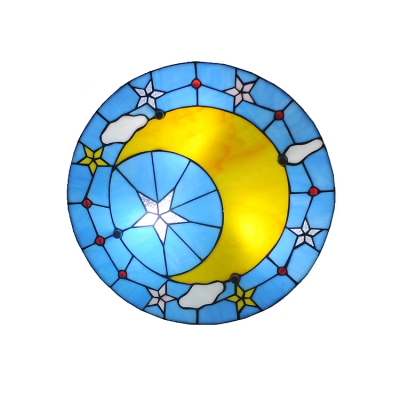 Mediterranean Style Cartoon Tiffany Flush Mount Light Featuring Star and Moon Pattern for Kids Bedroom