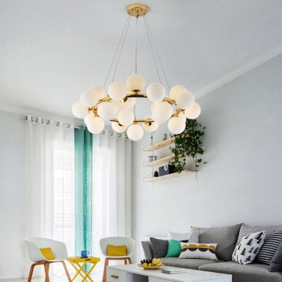 Post Modern Ball Hanging Lamp Height Adjustable Decorative Frosted Glass Sphere LED Chandelier 27.56