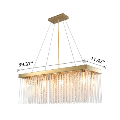 Third Gear Luxury Style Aged Brass Chandeliers with Glass Sticks and Crystal Beads Decoration 4 Sizes Available Hanging Light for Dining Table Living Room