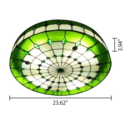 3-light Round Shade 24 Inch Stained Glass Tiffany Flush Mount Ceiling Light