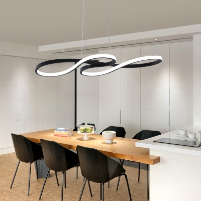 Architectural Linear Fixture 3 Sizes Available Black LED Curved Pendant Lights Ambient Warm White for Bedroom Reception Clothes Stores