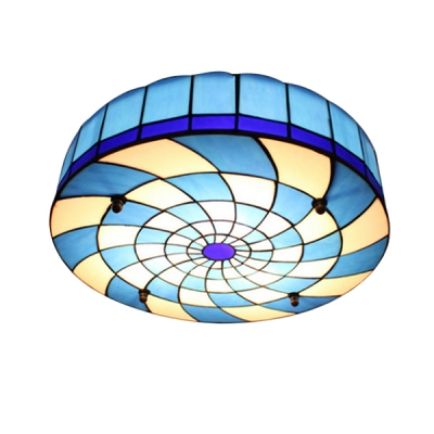 Blue&White Grid Cyclone Design Tiffany Stained Glass Ceiling Light 15.75 Inch Wide
