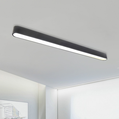 Contemporary Art Deco Led Linear Ceiling Flush Light 24W, 3000LM, 6000K Acrylic Round Corners and Linear Frame Pendant Lighting in Black Finish