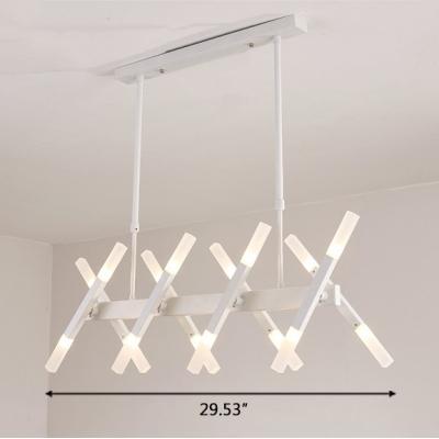 Designers Lighting Clothes Stores Restaurant Cafe Linear LED Chandelier White Metal 16 Light/20 Light LED Sissors Led Chandelier 29.53