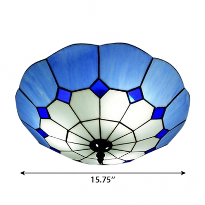 Large Size Tiffany Flush Mount light with Blue Art Glass Lotus Shade