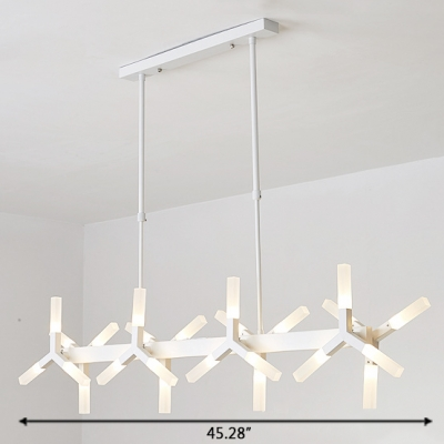 LED Accent Light Home Decoration LED Frosted Linear Chandelier 18 Light/24 Light Metal Windmill LED Chandelier in White for Dining Table Clothes Stores Foyer