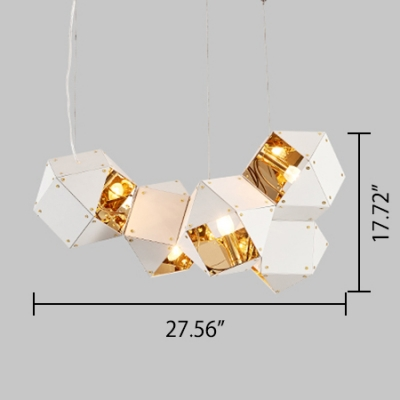 LED Accent Lights Multi Light LED Long Chandelier Black and Gold High Brightness Geometric LED Chandeliers in Metal Shade for Hotel Gallery Bar