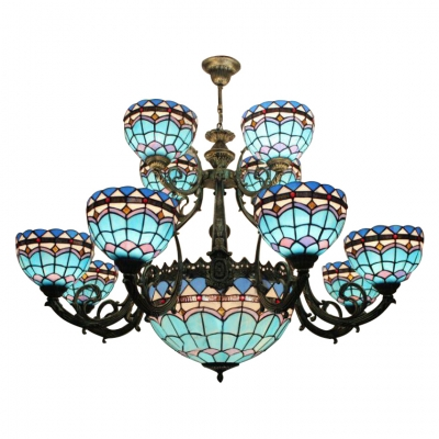 Mediterranean Style Blue Stained Glass 2/3 Tiers Chandelier with Center Bowl