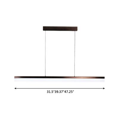 Modern Lighting Brown Finish Ultra-thin Linear Led Pendant Acrylic Energy-Saving 16W-24W, 3000K-6500K Decorative Led Office Meeting Room Dining Room Kitchen Island Lighting