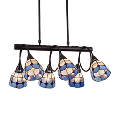 Nautical Style 6/10-Light Blue Checkered Dome Shade Linear Chandelier for Dining Room Restaurant