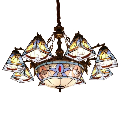 Nautical Style Sailboat Motif Stained Glass Shade Chandelier with Center Bowl