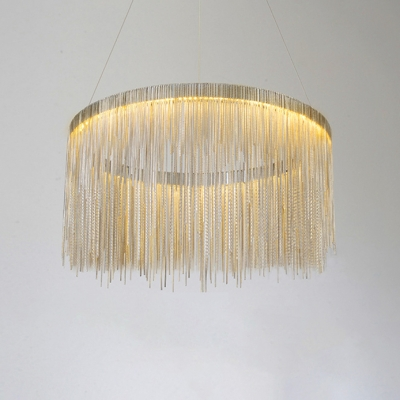 New Post-Modern Gold Fringe LED Pendant Light Designers Metal 24W Tiered Round Chains Waterfall Chandeliers Ceiling Lamp