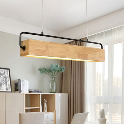 Study Room Office Lighting 28 35 43 Long Wood Led Linear Pendant