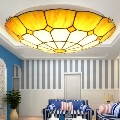 Tiffany Stained Glass Blue/Yellow Lotus Shape Ceiling Light Fixture 11.81