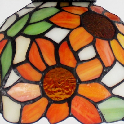 Tiffany Stained Glass Dome Shade Semi Flush Ceiling Light with Vintage Wheel Decor 15.35