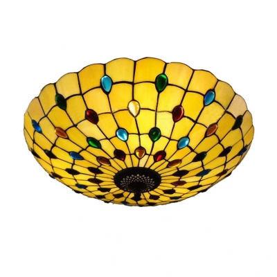Tiffany-Style Round Glass Flush Mount Ceiling Fixture with Colorful Jewels Decorated