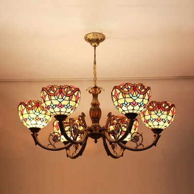 30 Inch Wide Shabby Chic Style Stained Glass Shade 6-Bulb Inverted Chandelier Light for Living Room