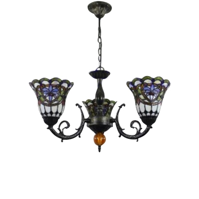 Classic Stained Glass Shade Wrought Iron Chandelier in Olde Bronze Finish 3 Designs for Option
