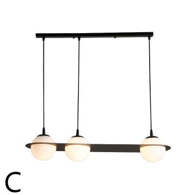 Exclusive Designers Lights Black Glass Globe Chandelier 2 Light/3 Light Frosted Orbicular Ceiling Fixture for Dining Room Kitchen Brilliard Bar