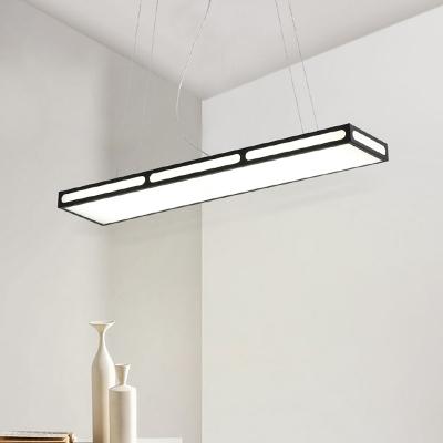 Modern Led Linear Pendants Acrylic Chandelier Lighting 27/45W Anti-Glare Metal Rectangular Hanging Lights in Black/White for Kitchen Dining Room Office Study Room