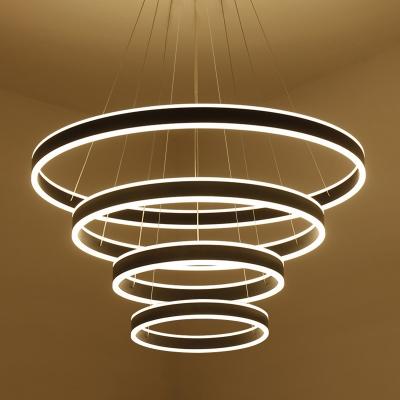 Modern Minimalist 1 Light-4 Light Suspension LED Pendant Matte Black Aluminum Circle Ring Multi Light LED Chandelier for Bathroom Dining Room Kitchen