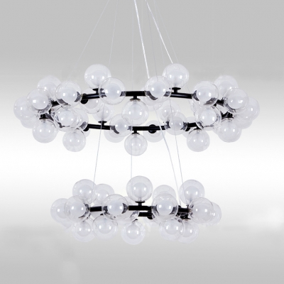 Novelty Pendant 2 Tier/3 Tier Halo LED Chandelier Decorative 65-Light/125-Light Clear Glass Bubble LED Chandeliers in Black for Hotel Hall Foyer Staircase