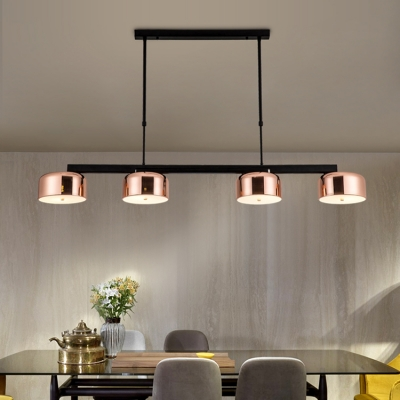 Post Modern Drum Shade LED Chandelier Black/Rose Gold 4 Light LED
