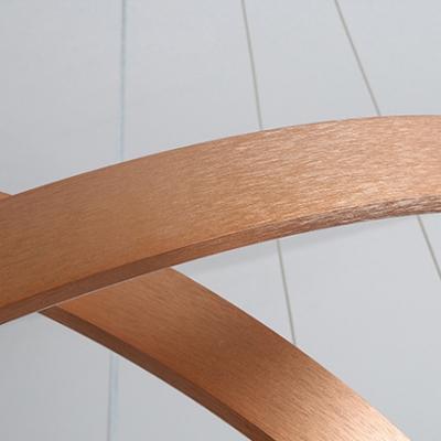 Antique Brass Multi Ring Pendant Light Post Modern 20/50/100W 1 Light/2 Light/3 Light Brushed Aluminum Drum Led Chandelier for Staircase Entryway Office
