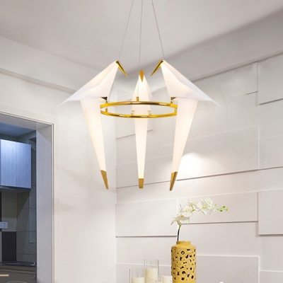 Birdie LED Pendant Light Adjustable Home Decorative Metal Lights 1 Light/2 Light/3 Light Gold Paper Crane Hoops LED Chandelier for Bedroom Living Room Hotel Restaurant