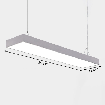 Commercial Office Workshop Lighting LED Linear Pendant Lights in Silver Finish Aluminum 35/45/60W Cool White Light (23.62