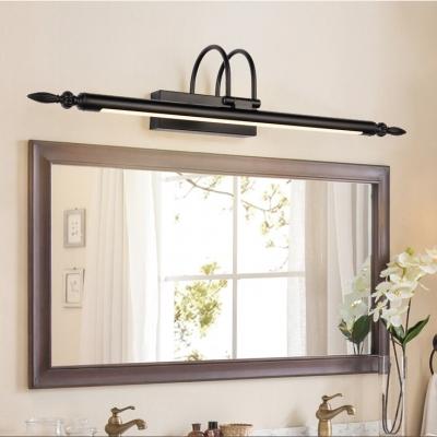 Industrial Vintage Style Black Finish LED Vanity Light 9/12/14W Warm White Arc Arm Long Linear LED Vanity Lighting for Bedside Bathroom Study Room