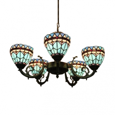 Mediterranean Style Blue Stained Glass Bowl Shade Chandelier with Wrought Iron Arms