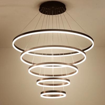 Multi Light Pendant Adjustable Height 4 Light/5 Light Diy Ring LED Pendant Light Aluminum Hoops Chandelier for Dining Room Kitchen Restaurant