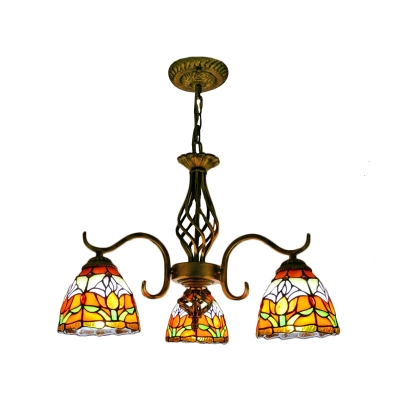 Tulip Pattern Down Lighting 3-Light Chandelier with Wrought Iron Arms for Living Room Restaurant