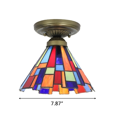 8 Inch Wide Colorful Conical Shade Tiffany Semi-Flush Light with Irregular Edge