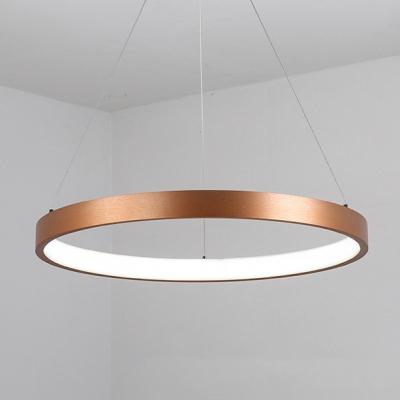 Antique Brass Multi Ring Pendant Light Post Modern 20 50