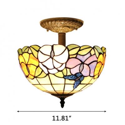 Floral Theme Bowl Shade Tiffany Semi-Flush Mount Ceiling Light 11.81