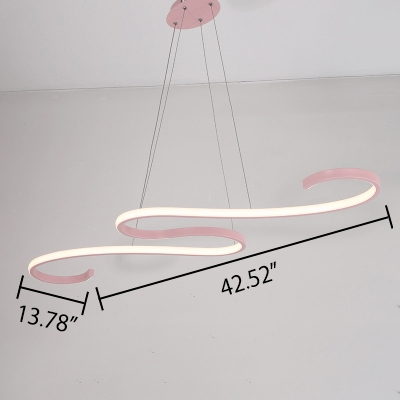Kids Room Girls Bedroom Bright LED Linear Pendant Light Pink/Green 54W 42.52 Inch Long Curved Hanging Light Height Adjustable