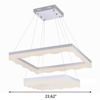 Matte White Acrylic Lampshade 2 Ring Rectangular LED Chandelier 15.75