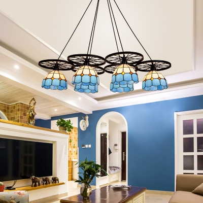 Mediterranean Style Tiffany Stained Glass 6-Light Hanging Pendant Lamp with Blue Dome Shade and Wheels