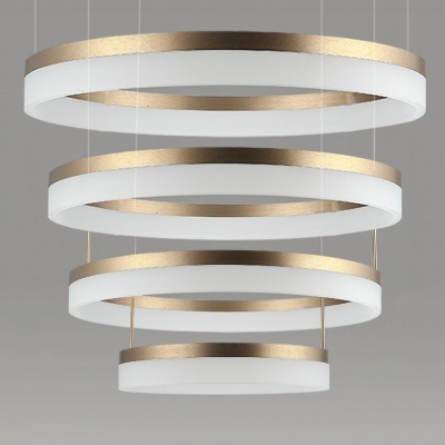 Minimalist Ultra-Modern Cylinder LED Chandelier Brushed Brass Tiered Frosted Shade LED Circular Ring Chandelier wIith Adjustable Height 5 Sizes for Option