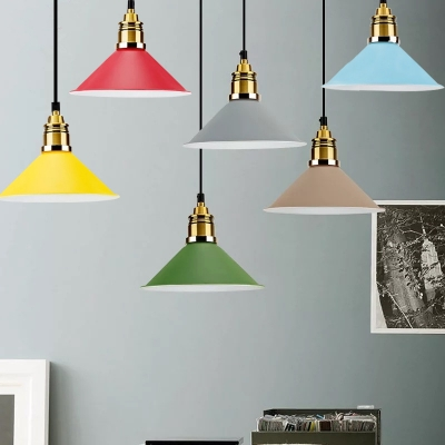 Modern Metal Shade Single Head Pendant Lighting for Restaurant (6 Colors for Choice, Green;red;beige;gray;light blue;yellow, HL486976