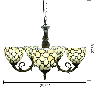 5-Light Beige Stained Glass Tiffany Style Chandelier in Antique Bronze Finish