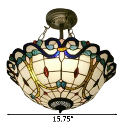Baroque Semi Flush Mount Lamp Tiffany Style with 16