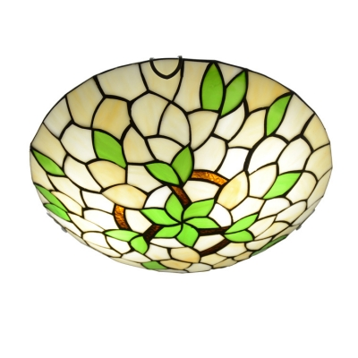 Green Flower&Leaf Pattern Tiffany Ceiling Light Fixture with 11.81