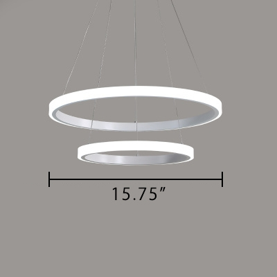 Modern Tiered Led Chandelier Aluminum White 1-Light/2-Light/3-Light/4-Light Ring Pendant Lighting in Acrylic Lampshade