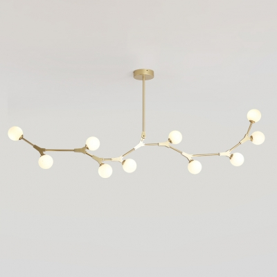 Post Modern Branch Hanging Lights 5W 3 Light-14 Light Glass Globe LED Chandeliers in Gold Metal for Restaurant Cafe Dining Tables